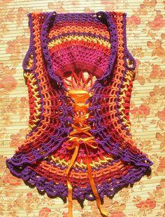 Beautiful #crochet circle vest with corset back by Babukatorium