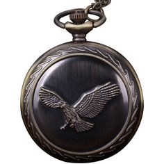 Bronze Eagle Vintage Pocket Watch (£5.73) ❤ liked on Polyvore featuring jewelry, watches, vintage jewellery, vintage pocket watch, vintage watches, bronze watches and vintage wristwatches