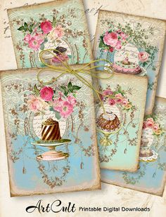 VICTORIAN SWEETS - Gift Tags Printable Download Digital Collage Sheet by ArtCult