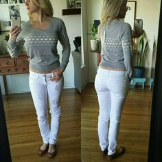 RESERVED Heart Gray Crop Sweater Brand new, without tags. Excellent condition, Never been worn. This is a size small gray crop sweater with white, pink and blue hearts detailing. Can be worn a little longer or cropped higher up.   60%cotton 40%rayon LC Lauren Conrad Sweaters