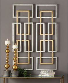 Interlocking geometric shapes add modern style to the Uttermost Aerin Geometric Wall Panels - Set of 2 . Made of iron and metal, this set of two. Leaf Wall Art, Diy Wall Art, Diy Wall Decor, Wall Art Sets, Diy Home Decor, Wall Décor, Wall Decor Design, Iron Wall Art, Wall Panel Design
