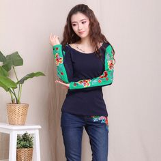 Flower Embroidery Long Sleeve Oriental Style Shirt - Dark Blue - Chinese Shirts & Blouses - Women