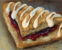 Cherry Turnover Pastry Dessert, Bakery 8 x10 Orignal Oil on panel, painting by artist Hall Groat II