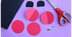 Paper Ladybug Craft for Kids - Crafty Morning Start by cutting out two circles with red paper of the same size. Bend them in half and draw black dots with the sharpie Fall Crafts For Kids, Paper Crafts For Kids, Spring Crafts, Paper Crafting, Kindergarten Crafts, Preschool Crafts, Construction Paper Flowers, Insect Crafts, Cool Paper Crafts