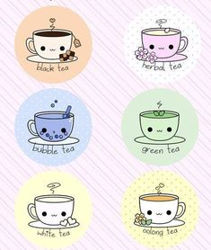 Kawaï - Différents types de thés : black tea♥, herbal tea, bubble tea, green tea, white tea⚪ et oolong tea❤ #Mum