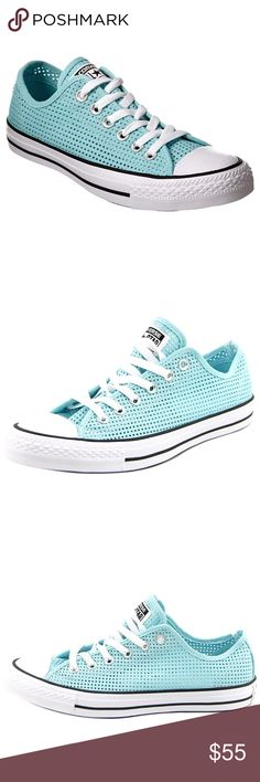 NIB Converse Chuck Taylor All Star Perforated 7 New in box, light blue Converse Chuck Taylor All Star Perforated Sneaker, size 7. All over perforations add a breezy touch! Converse Shoes Sneakers
