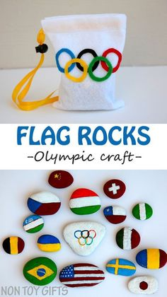 These kids crafts look so fun to make and educational too! Painted flag rocks - a creative and educational Olympic craft. A great opportunity for kids to learn about the participating countries to the Olympics.