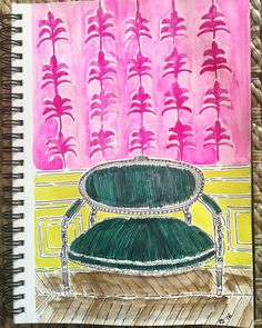Green Parisian Settee from my sketchbook