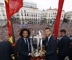 Captains Sergio Ramos and Marcelo of Real Madrid celebrate with the. Champions League Trophy, Ramos Real Madrid, Mc 12, Real Madrid Wallpapers, European Cup, Finals, Spain, Angel, Celebrities