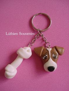 Lucía Bertinat. Lúthien Souvenirs Keyring / Llavero / Cold porcelain / Porcelana Fría / Dog / Puppy / Jack Russell Terrier