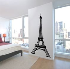 Eiffel Tower Wall Decal 7 Feet Tall, Vinyl Wall Art Decal stickers highly detailed Paris Decor for your home on Etsy, $68.50