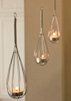 Things We've Never Thought Of: Hanging Whisk Tealight Holders! Seems perfect for a wedding shower or housewarming party