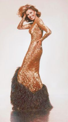 Cyd Charisse in Bob Mackie sequin and feather gown