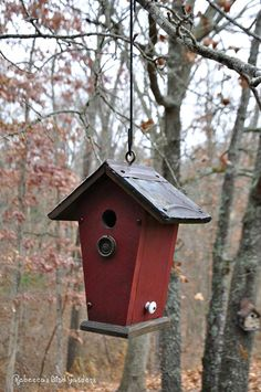 Each birdhouse is unique ♥ ~ vintage ceiling tiles, antique hardware, eye-bolt for hanging. Decorative item, but is made to be a functional birdhouse as well. Constructed of weather resistant cedar with a side door for nest removal. Entrance hole size is 1 1/4 ~ suitable for wrens, chickadees, nuthatches, sparrows... Handcrafted by Jeff and Rebecca Nickols. Jeffs the builder and Rebecca is the painter / decorator... Each birdhouse branded with our logo: Rebeccas Bird Gardens ...
