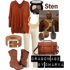 Dragon Age - Sten by dwarva on Polyvore featuring Joseph, Étoile Isabel Marant, De Blossom, Rose Pierre, Smashbox and OPI