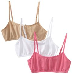 Maidenform Big Girls' Crop Bra (Pack of White/Nude/Pink, Medium Three-pack set of multicolor training bras with adjustable spaghetti straps Prefect for everyday wear Fabulous starter bra Ultra soft and comfortable fabrication Best Sellers, String Bikinis, Underwear, Nude, Bra, Swimwear, How To Wear, Spaghetti Straps, Clothes