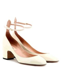 13 Outdoor Wedding Shoes That Won't Sink Into the Grass   Martha Stewart Weddings - A delicate ankle strap, single sole, and almond-shaped toe gives this pump the clean lines and fashion-forward vibe of a pointed toe, four-inch heel.
