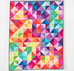 Modern Colorful Lap Quilt, Baby Quilt, Throw Quilt or Twin or Toddler Quilt - Postcards Pattern - made to order Quilting Classes, Quilting Projects, Quilting Designs, Toddler Quilt, Toddler Bed, Half Square Triangle Quilts, Keepsake Quilting, Fabric Postcards, Quilts For Sale