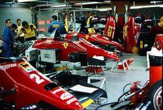 Scuderia Ferrari garage before race at the 1985 Formula 1 Belgian Grand Prix. Ferrari F1, Ferrari Daytona, Belgian Grand Prix, Honda, Mario Andretti, Ferrari California, F1 News, Thing 1, Team Uniforms