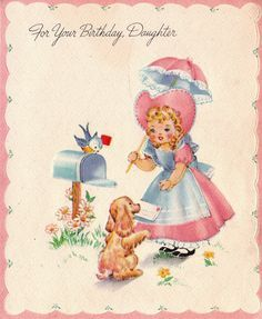 Vintage Greeting Card Birthday Female