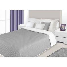 Bielo sivý obojstranný prehoz na posteľ s prešívaním