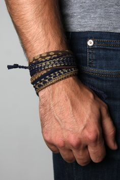 Wrap Bracelet - Navy Blue, Brown and Gold UNISEX Hand Printed and Handmade bracelet by Necklush. This is a men's or women's wrap bracelet, made with cotton and antiqued brass finishing. Made in the US