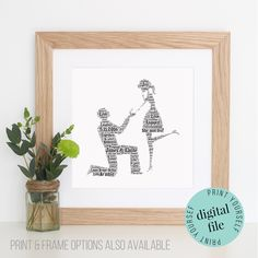 Personalised ENGAGEMENT GIFT - Word Art - Printable - Unique Engagement Gifts - Digital Art Print - Engagement Gifts - Gift for Couple by WordlyDesigns on Etsy