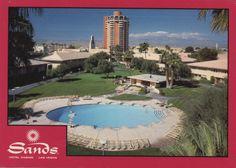 old Las Vegas postcard from the Hagins collection...Sands Hotel & Casino pool area.  #vintageLasVegas