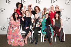 Sarah Jones, Tracee Ellis Ross, Diane von Furstenberg, Cynthia Erivo, Laura Brown, Allison Williams, Baljeet Sandhu, Karlie Kloss, Jane Goodall, Yoani Sánchez, and Louise Dubé pose at the eighth annual DVF Awards.