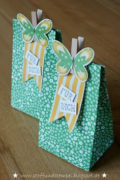 Stoff und Stempel - Geschenktüten mit Watercolor Wings