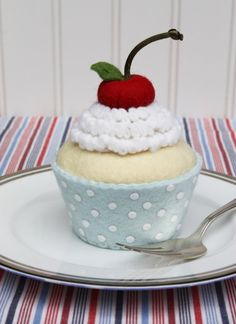 Felt Cupcake With White Whipped Cream, Cherry And Blue Liner