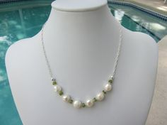 Cultured Pearl With Peridot And Sterling Silver by JKCustomDesigns