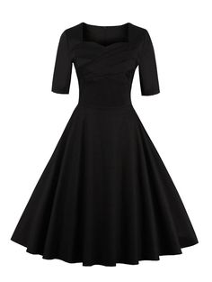 Vintage Sweetheart Neck Flare Pin Up Dress - BLACK 4XL