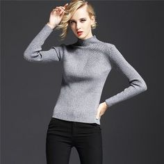 New Casual Women Sweater Fashion Turtleneck Women's Sweaters Clothing Pullovers Computer Knitted Solid Ladies Pullover Clothes