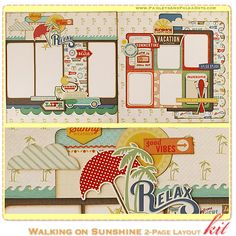 Walking on Sunshine Scrapbook Layout Kit, complete with instructions, by PaisleysandPolkaDots.com for a limited time featured at www.scrapclubs.com