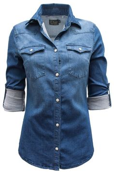 This is the button up for every occasion! Western style, chambray pearl snap…