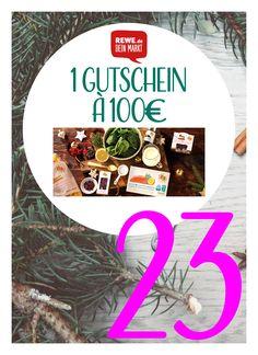 Im vorletzten Türchen unseres Adventskalenders befindet sich ein mega Gutschein! 100 EUR von REWE gibt es zu gewinnen. Husch, husch auf den Blog. Ihr habt noch ein paar Stunden Zeit, mit zu machen.