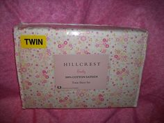 HILLCREST EMILY 3 PC TWIN SHEET SET 100% COTTON SATEEN PINK FLORAL PRINT NIP $39.99