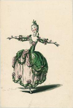 Costume de sirène pour Mlle Guimard (Le Ballet des sens, Jean-Joseph Mouret)  Dessins et croquis de costumes pour les opéras représentés à Paris et à Versailles de 1739 à 1767  Louis-René Boquet (1717-1814), 1770.  BnF, Manuscrits, Rothschild 1462, n° 93
