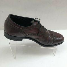 8bf3abfa6e7 Vintage Florsheim Burgundy 30353 Wingtip Oxford Leather Mens 10.5 3E Extra  Wide  fashion  clothing