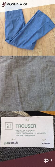 New GAP Gray Trousers New with tags! GAP trouser, size 8 long, 50% wool, 48% polyester, 2% spandex. Hand wash cold. GAP Pants Trousers
