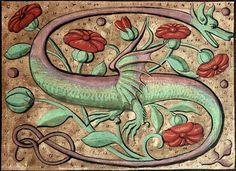 Dragon initial, Pierre de Saint-Nectaire, Orationes, France ca. 1510 (Clermont-Ferrand, BM, ms. 1510, fol. 13r)