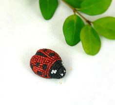 Ladybug Miniature Figurine Tiny Beaded Animal by MeredithDada, $32.00