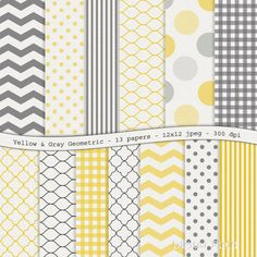 INSTANT DOWNLOAD Yellow Geometric Textured by digitalfield, $3.25