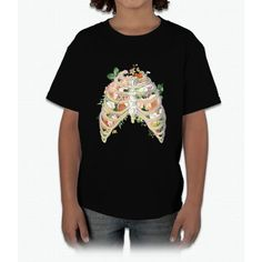 Floral Ribs Unicorn Young T-Shirt