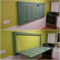 Door fold down table