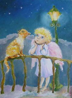 Купить Ангел и Рыжий кот Картина масло 15х20 см - ангел, ангелочек, ангел-хранитель