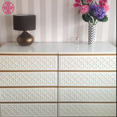 Sarah Ryner did a fabulous job on this O'verlays Quatrefoil makeover on the Ikea Malm 4 drawer dresser. Great accent furniture!