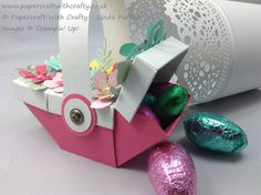Envelope Punch Board Easter Picnic Basket - top covered picnic basket decorated with Botanical dies.