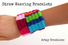 Make these Straw Weaving Bracelets to create these fun chunky bracelets for kids.  It's a great boredom buster!